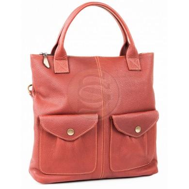 Кожаная сумка Амели красная
