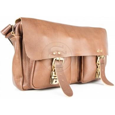 Кожаная сумка Денди коричневая
